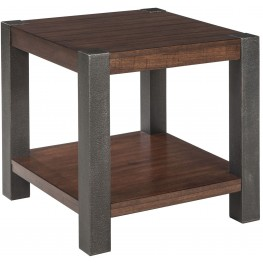 Heidiho Light Brown Square End Table