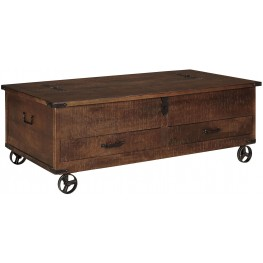 Norlandon Medium Brown Storage Cocktail Table