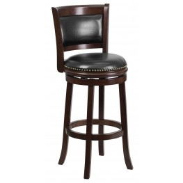 29Inch Cappuccino Black Swivel Bar Stool