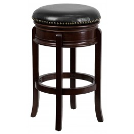 29Inch Backless Cappuccino Black Swivel Bar Stool