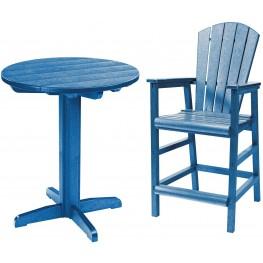 "Generations Blue 32"" Round Pedestal Pub Set"