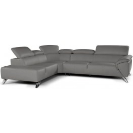 Tesla Gray Leather LAF Sectional