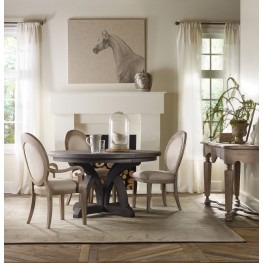 Corsica Light Wood Round Extendable Dining Room Set
