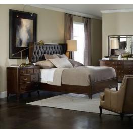 Palisade Carbon Fabric Upholstered Shelter Panel Bedroom Set