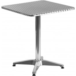 """23.5"""" Square Aluminum Indoor-Outdoor Table with Base"""