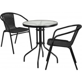 "23.75"" Round Glass Metal Table with 2 Black Rattan Stack Chairs"