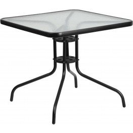 """31.5"""" Square Tempered Glass Metal Table"""