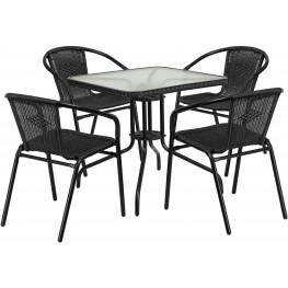 """28"""" Square Glass Metal Table with Black Rattan Edging and 4 Black Rattan Stack Chairs"""