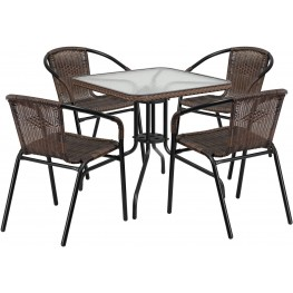 """28"""" Square Glass Metal Table with Dark Brown Rattan Edging and 4 Dark Brown Rattan Stack Chairs"""
