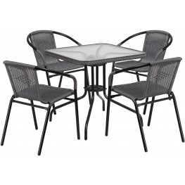 "28"" Square Glass Metal Table with Gray Rattan Edging and 4 Gray Rattan Stack Chairs"