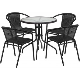 """28"""" Round Glass Metal Table with Black Rattan Edging and 4 Black Rattan Stack Chairs"""