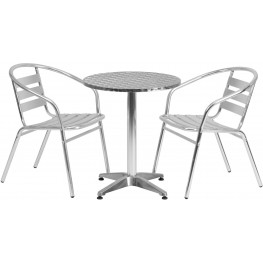 "23.5"" Round Aluminum Indoor-Outdoor Table with 2 Slat Back Chairs"