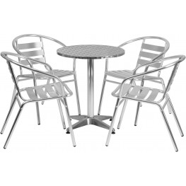 "23.5"" Round Aluminum Indoor-Outdoor Table with 4 Slat Back Chairs"