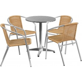 "23.5"" Round Aluminum Indoor-Outdoor Table with 4 Beige Rattan Chairs"