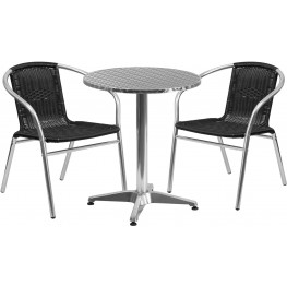 "23.5"" Round Aluminum Indoor-Outdoor Table with 2 Black Rattan Chairs"