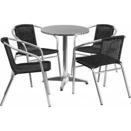 "23.5"" Round Aluminum Indoor-Outdoor Table with 4 Black Rattan Chairs"