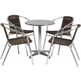 "23.5"" Round Aluminum Indoor-Outdoor Table with 4 Dark Brown Rattan Chairs"
