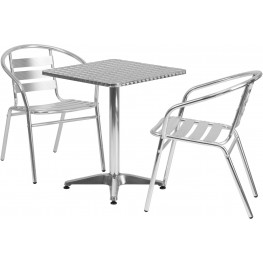"23.5"" Square Aluminum Indoor-Outdoor Table with 2 Slat Back Chairs"