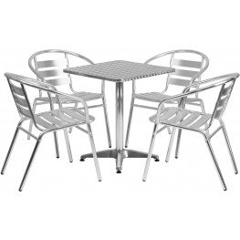 "23.5"" Square Aluminum Indoor-Outdoor Table with 4 Slat Back Chairs"