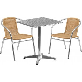 "23.5"" Square Aluminum Indoor-Outdoor Table with 2 Beige Rattan Chairs"