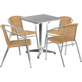 "23.5"" Square Aluminum Indoor-Outdoor Table with 4 Beige Rattan Chairs"