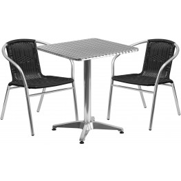 "23.5"" Square Aluminum Indoor-Outdoor Table with 2 Black Rattan Chairs"