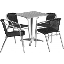 "23.5"" Square Aluminum Indoor-Outdoor Table with 4 Black Rattan Chairs"
