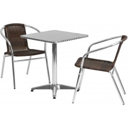 "23.5"" Square Aluminum Indoor-Outdoor Table with 2 Dark Brown Rattan Chairs"