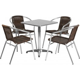 "23.5"" Square Aluminum Indoor-Outdoor Table with 4 Dark Brown Rattan Chairs"