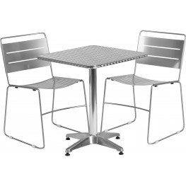 """23.5"""" Square Aluminum Indoor-Outdoor Table with 2 Silver Metal Stack Chairs"""