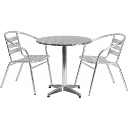 "27.5"" Round Aluminum Indoor-Outdoor Table with 2 Slat Back Chairs"
