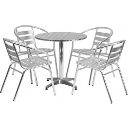 "27.5"" Round Aluminum Indoor-Outdoor Table with 4 Slat Back Chairs"