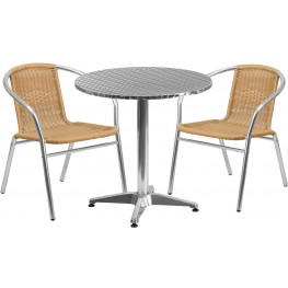 "27.5"" Round Aluminum Indoor-Outdoor Table with 2 Beige Rattan Chairs"