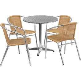 "27.5"" Round Aluminum Indoor-Outdoor Table with 4 Beige Rattan Chairs"