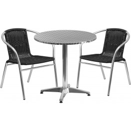 "27.5"" Round Aluminum Indoor-Outdoor Table with 2 Black Rattan Chairs"