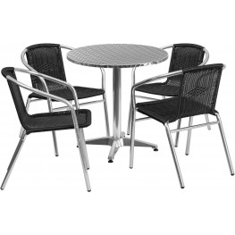 "27.5"" Round Aluminum Indoor-Outdoor Table with 4 Black Rattan Chairs"
