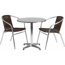 "27.5"" Round Aluminum Indoor-Outdoor Table with 2 Dark Brown Rattan Chairs"
