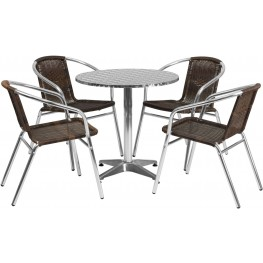"27.5"" Round Aluminum Indoor-Outdoor Table with 4 Dark Brown Rattan Chairs"
