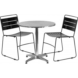 """27.5"""" Round Aluminum Indoor-Outdoor Table with 2 Black Metal Stack Chairs"""