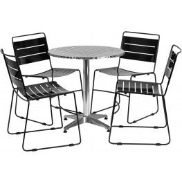 "27.5"" Round Aluminum Indoor-Outdoor Table with 4 Black Metal Stack Chairs"