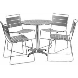 "27.5"" Round Aluminum Indoor-Outdoor Table with 4 Silver Metal Stack Chairs"
