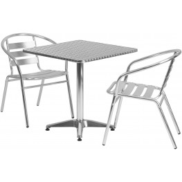 "27.5"" Square Aluminum Indoor-Outdoor Table with 2 Slat Back Chairs"