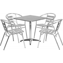 "27.5"" Square Aluminum Indoor-Outdoor Table with 4 Slat Back Chairs"