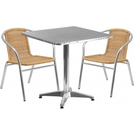 "27.5"" Square Aluminum Indoor-Outdoor Table with 2 Beige Rattan Chairs"