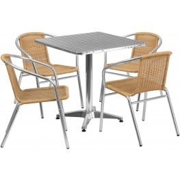 "27.5"" Square Aluminum Indoor-Outdoor Table with 4 Beige Rattan Chairs"