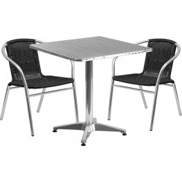 "27.5"" Square Aluminum Indoor-Outdoor Table with 2 Black Rattan Chairs"