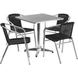 "27.5"" Square Aluminum Indoor-Outdoor Table with 4 Black Rattan Chairs"