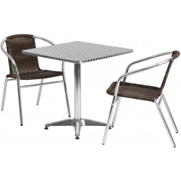 "27.5"" Square Aluminum Indoor-Outdoor Table with 2 Dark Brown Rattan Chairs"