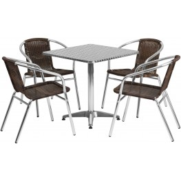 "27.5"" Square Aluminum Indoor-Outdoor Table with 4 Dark Brown Rattan Chairs"