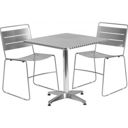"27.5"" Square Aluminum Indoor-Outdoor Table with 2 Silver Metal Stack Chairs"